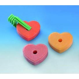 Nobby Salt-like-stone Heart with Fastener 3 pc