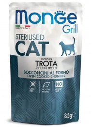 MONGE GRILL Cat STERIL. trout 85g