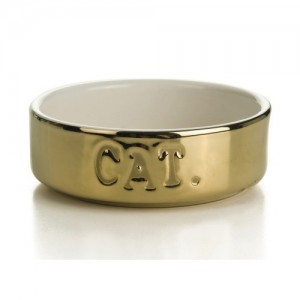 IPTS Ceramic Cat Bowl Gold 11,5x4 cm