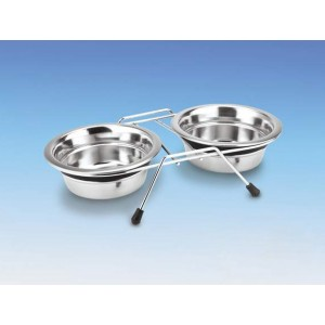 Nobby H-Stand +2 Stainless Steel Bowls 2*0,4L
