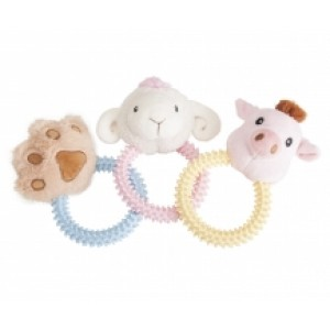 Camon Plush Dog toy with TPR ring 17cm