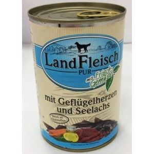 Landfleisch chicken heart & salmon 400g