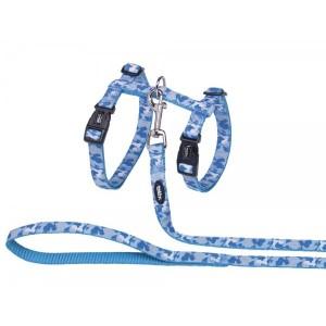 NOBBY cat harness + leash blue COMOUFLAGE