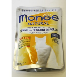 MONGE Nat. Cat Tuna.& chicken liver 80g