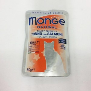 MONGE Natural Cat Tuunik.& Lõhe 80g kott