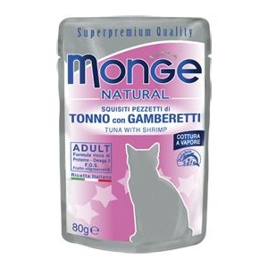 MONGE Natural Cat Tuun&Krevetid 80g kott