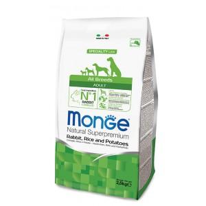 MONGE DOG AB koeratoit küülik&riis 2,5kg