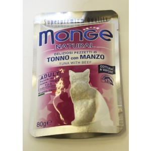 MONGE Natural Cat Tuunik&Veis 80g kott